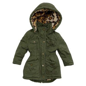 Urban Republic Khaki Green Leopard Faux Fur Jacket